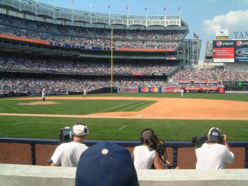 My view from 2 rows behind the camera well as Aceves is in the process of striking out the side