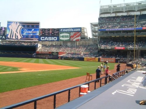 View from directly behind the dugout in Yankee Stadium Legends Seating